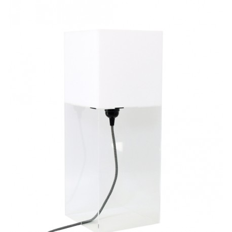 Biała lampa stołowa PLEXI L - HK Living