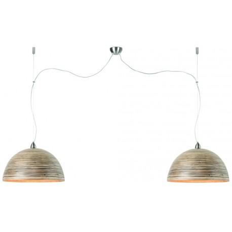 Bambusowa lampa wisząca HALONG, ciemna naturalna 2-abażurowa - It's About RoMi