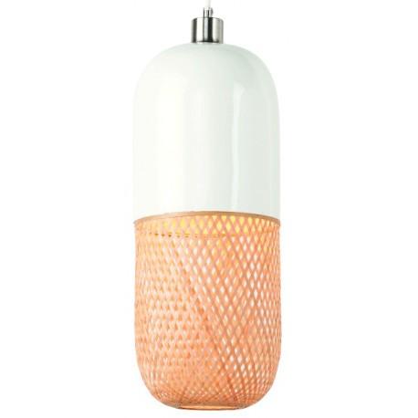 Podłużna lampa wisząca MEKONG (biała/naturalna) - It's About RoMi