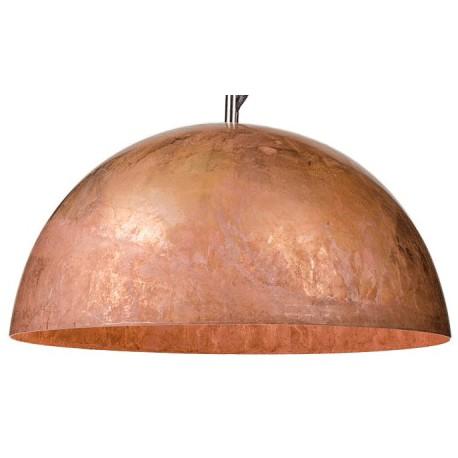 Miedziana lampa wisząca L o kulistym kształcie