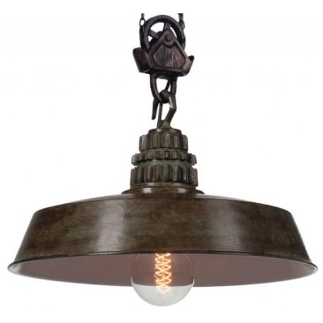 Fabryczna lampa wisząca (brązowa i zielona)