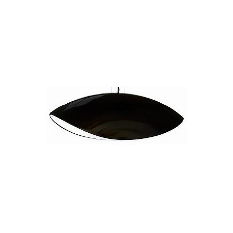 Czarna lampa wisząca o futurystycznym kształcie