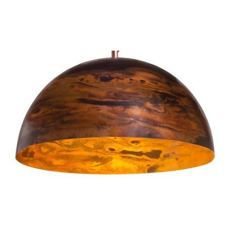 Miedziana lampa wisząca L o oryginalnym wykończeniu.
