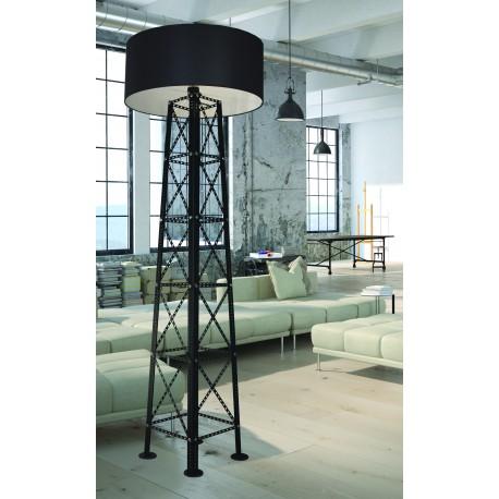 Loftowa lampa podłogowa Transmission, czarna, industrialna