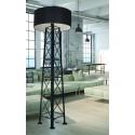 Loftowa lampa podłogowa Transmission z czarnym abażurem