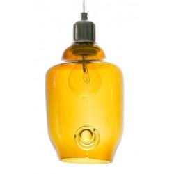 Szklana lampa wisząca - mała w kolorze miodowym
