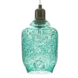 Szklana lampa wisząca – mała w kolorze turkusowym