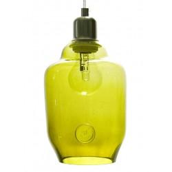 Szklana lampa wisząca – mała w kolorze oliwkowym