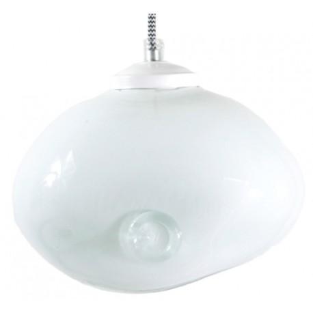 Pękata, szklana lampa wisząca GIE EL– pastelowa biel