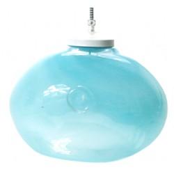 Pękata, szklana lampa wisząca  GIE EL– pastelowy turkus