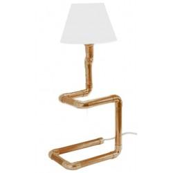 Miedziana lampka biurkowa ze szklanym abażurem.