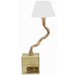 Lampka biurkowa na drewnianej podstawie z abażurem – GIE EL