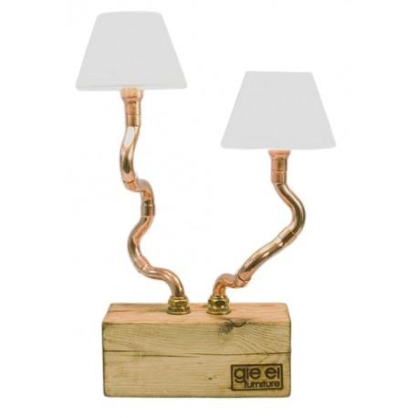 Podwójna lampka biurkowa na drewnianej podstawie z abażurami – GIE EL