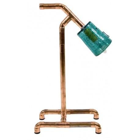 Lampka biurkowa miedziana turkusowym abażurem – GIE EL