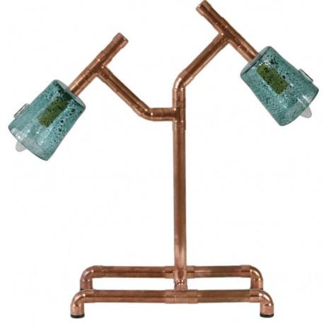 Podwójna lampka biurkowa miedziana z turkusowymi abażurami – GIE EL