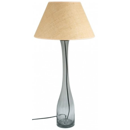 Lampa stołowa szara z abażurem - duża