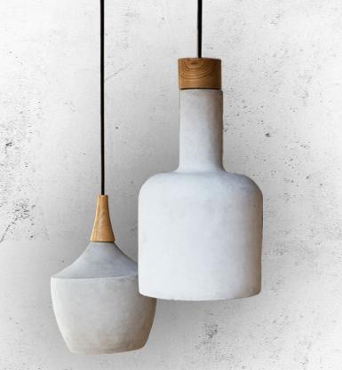 Lampy betonowe z elementami drewna