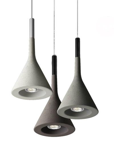 Sufitowe lampy wykonane z betonu