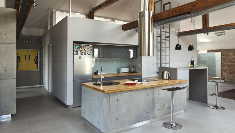 beton i drewno we wnętrzach