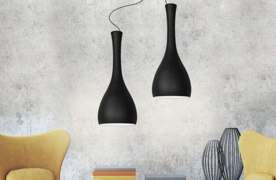 Nowoczesne lampy wiszące, czarne, ze szkła