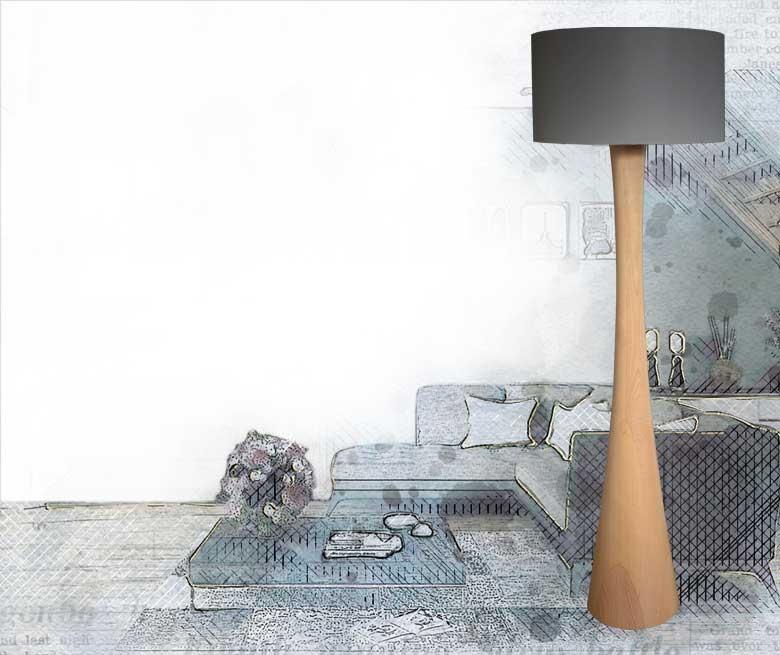 Lampa podłogowa z drewna